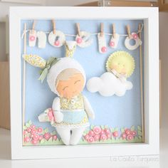 Felt picture- baby shower hand-made gift. Felt Crafts, Diy And Crafts, Felt Name Banner, Baby Frame, Felt Pictures, Felt Wreath, Felt Material, Felt Baby, Felt Decorations