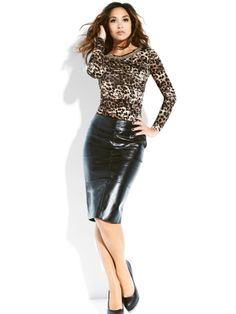 Isme Becomes Very Black Leather Dresses, Leather Skirts, Pencil Skirt Outfits, Pencil Skirts, Sexy Skirt, Dress Skirt, Girl Fashion, Womens Fashion, Everyday Look