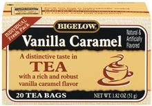 Biegelow Vanilla Caramel. An absolute must in your tea collection. A few bags mixed in with your regular orange pekoe black tea makes a most excellant iced tea, with little need for large amounts of sugar.