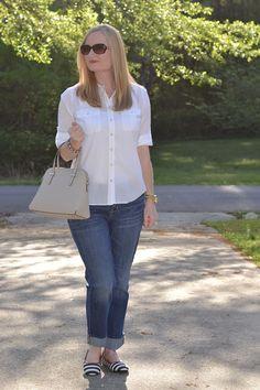 Classy Yet Trendy: Boyfriend Jeans & Navy Stripes