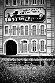 Bull Durham Tobacco B&W Durham North Carolina by KimCollinsPhoto, $36.00