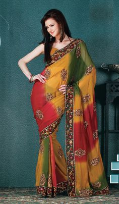 Multi Colored Designer Saree  Check out this page now :-http://www.ethnicwholesaler.com/sarees-saris/georgette-sarees