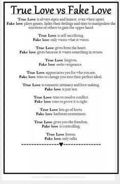 True Love Vs Fake Love Comparison Test List Love