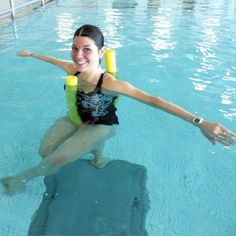 Noodle Flyback: Mount your pool noodle like a bicycle, but this time use sweeping forward-and-back motions with your arms to move you backwards across the pool. You'll feel this one through your chest, shoulders, upper back, and even abs.