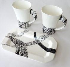 Handpainted mugs black and white zentangle doodle by KilnFiredArt, £15.00