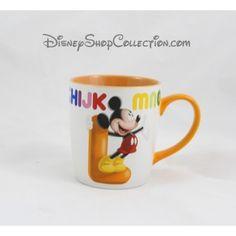 Mug Mickey DISNEYLAND PARIS lettre L tasse céramique orange