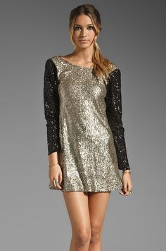 Lovers + Friends Bright Lights Mini Dress in Bronze/Black Sequin #newyearseve #maternity #dress