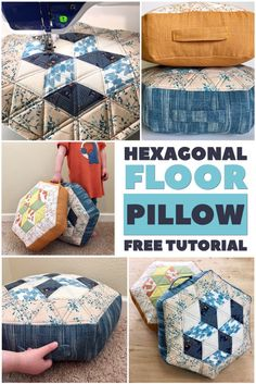 How to make a Hexagonal Floor Pillow. Quilting For Beginners, Quilting Tips, Sewing For Beginners, Quilting Projects, Small Quilts, Easy Quilts, Large Floor Pillows, Easy Sewing Projects, Sewing Hacks