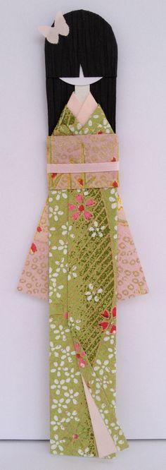 蝶 Chou (Butterfly) Japanese Washi Paper Bookmark Doll mounted on card-stock.  Washi paper cards - re-Pinned by HankoDesigns.Com