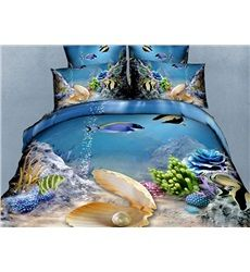 Wonderful Sea World Pearl and Fish Print 4-Piece Polyester Duvet Cover Sets #bedding #bedroom #decor
