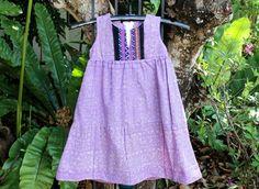 Little Girls Hmong Lavender Batik and Embroidery Boho Style Dress by DekDoi,  #Girls #Dress #Bohemian #Hmong