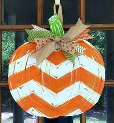 This item is unavailable Pumpkin Door Hanger / Hand Painted Wooden Door Hanger / Chevron Orange & White Pumpkin Door Hanger / Fall Door Decor / Personalized Pumpkin by SouthernWhimsyStyle on Etsy www. Wooden Pumpkins, Painted Pumpkins, Fall Pumpkins, Wooden Pumpkin Crafts, White Pumpkins, Wood Crafts, Diy Crafts, Fall Halloween, Halloween Crafts