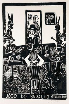 Jogo do Baralho (The Card Game)  Givanildo Borges (Brazil), 2000  Woodcut print on paper (15 1/4 x 10)