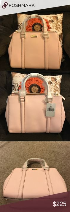NWT Kate Spade Small Newberry Lane Satchel🌷 Color is balletslip which is a very light pinkish color very pretty gold hardware 2 large zipper pockets and big opening inside also small zipper pocket and 2 small pockets for keys and cell Phone would make a great Christmas present comes with long adjustable strap and dust bag gorgeous bag is 11.5x8.25 more like a medium size to me🌷🌺 kate spade Bags Satchels