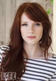 """Auburn hair color is a variation of red hair color but is more brownish in shade. Just like the ombre,Read More Flattering Auburn Hair Color Ideas"""" Hair Color Auburn, Red Hair Color, Color Red, Ginger Hair Color, Bryce Dallas Howard, Sweeping Bangs, Sweeping Fringe, Long Hair With Bangs, Side Fringe Long Hair"""