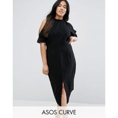 ASOS CURVE Wiggle Dress With Cold Shoulder ($54) ❤ liked on Polyvore featuring dresses, black, plus size, plus size party cocktail dresses, bodycon party dresses, plus size party dresses, cocktail party dress and bodycon maxi dress