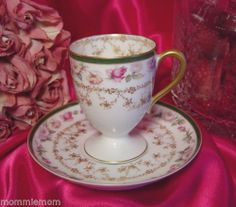 """Haviland Limoges Pink Roses Enamel Fancy Gold Footed Chocolate Cup Saucer (saucer is 5 1/4"""", cup is 3"""" x 2 1/2"""")"""