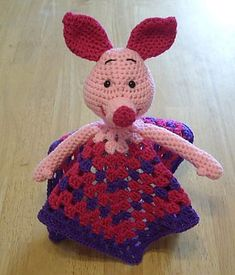 Ravelry: Piglet Inspired Lovey Blankie pattern by Knotty Hooker Designs Crochet Security Blanket, Crochet Lovey, Baby Security Blanket, Lovey Blanket, Crochet Dolls, Crochet Crafts, Yarn Crafts, Crochet Projects, Crochet Disney