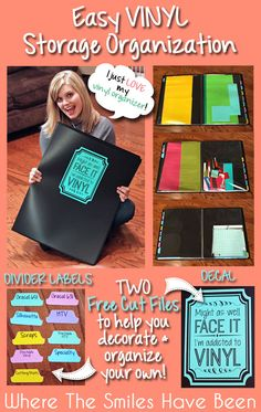 "Easy Vinyl Storage Organization and TWO Free Cut Files!  This is such a great and easy way to store sheets of vinyl as well as lots of other Silhouette supplies.  Plus, FREE cut files for the divider tab labels and a ""Might as well face it--I'm addicted to vinyl"" decal so you can organize your own!"