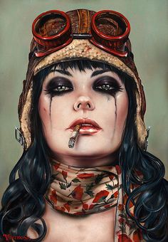 """Matador series by Brian M. Viveros - """"Aviat-her"""" (2015) Oil, acrylic, on maple board"""