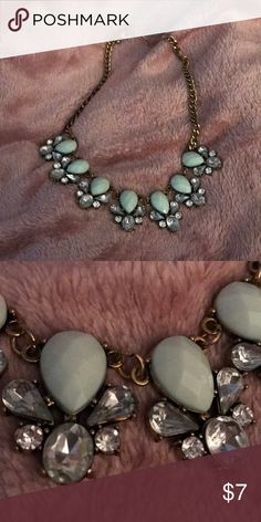 Mint and crystal statement necklace In new condition. I never wore as it was too choker like for my liking. Let me know if any questions! Jewelry Necklaces