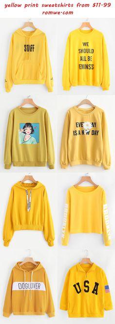 yellow print sweatshirts from romwe.com