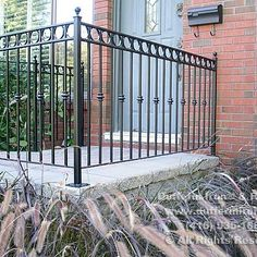Exterior Railings – Dufferin Iron & Railings Exterior Stair Railing, Outdoor Stair Railing, Wrought Iron Stair Railing, Iron Railings, Balcony Grill Design, Balcony Railing Design, Front Porch Steps, Rustic Stairs, Iron Balcony