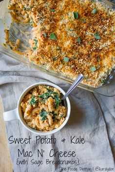 Sweet Potato & Kale Mac N& Cheese. Sweet Potato & Kale Mac N' Cheese topped with sage breadcrumbs for a true fall comfort food. Healthy Pasta Recipes, Healthy Pastas, Healthy Work Snacks, Vegetarian Recipes, Pasta Dishes, Food Dishes, Sweet Potato Kale, Mac And Cheese, Pasta Noodles