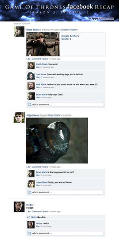 "If ""Game of Thrones"" Happened on Facebook. These are hysterical. Go look at the #DowntonAbbey ones as well."