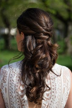 Half up hairstyle.