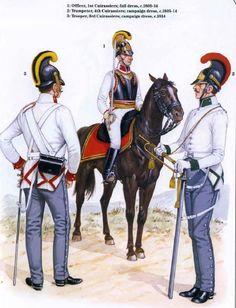 Corazziere del 3 rgt., ufficiale del 1 rgt. Corazzieri e tromba del 4 rgt. corazzieri austriaci