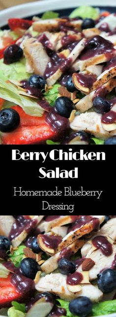 This salad is so good you won't mind having a salad for dinner. With simply-seasoned grilled chicken, strawberries, blueberries and toasted almonds all sitting on top of a bed of crisp lettuce, this Berry Chicken Salad is sure to please. The best part of this salad though, is the homemade Blueberry dressing – which is absolutely delicious!