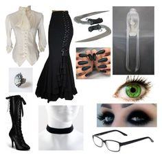 """""""Black Bulter Shinigami oc"""" by tictacterror ❤ liked on Polyvore featuring Select-A-Vision and Dr. Martens"""