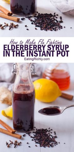 989 Elderberry syrup is an easy, all natural, immunity boosting home remedy that studies have shown can help shorten the effects of the flu. This elderberry syrup recipe uses the Instant Pot so that your syrup is ready in under an hour! Instant Pot Pressure Cooker, Pressure Cooker Recipes, Pressure Cooking, Elderberry Recipes, Elderberry Syrup Recipe With Sugar, Elderberry Jam, Pots, Wellness Mama, Cold Remedies