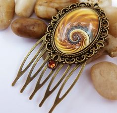 Small hair comb, modern design, yellow swirl, oval hair comb | Jewelry-treasure-chest - Accessories on ArtFire
