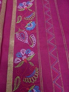 Kantha embroidery Embroidery Saree, Simple Embroidery, Indian Embroidery, Learn Embroidery, Japanese Embroidery, Hand Embroidery Stitches, Hand Embroidery Designs, Embroidered Quilts, Kantha Stitch