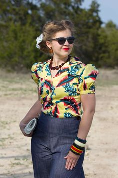 https://www.etsy.com/listing/160593356/tropical-sophie-puffed-sleeve-classic 30s 40s style blouse novelty print yellow red blue short sleeves for sale!