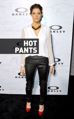Ashley Greene was seen wearing these pants to the Oakley Disruptive by Design event and we recommend she rock this exact pair of leather pants every single day of her life. The fit is perfect, the leather is hot, and in black, they'll go with everything else in her closet! She should buy at least five more pairs to keep the rotation going.