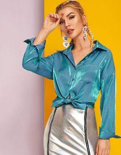 Shein Button Through Pocket Front Glitter Disco Blouse Pop Fashion, Fashion News, Fashion Models, Fashion Shoes, Satin Bluse, Collar Designs, Fall Shirts, Plus Size Lingerie, Plus Size Tops