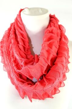 B42 Layered Ruffle Turquoise Sequin Lace Wavy Infinity Cowl Scarf  Boutique