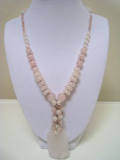 Pink Rose Quartz Necklace  Handmade  One of a by PearlGreyDesigns, $40.00