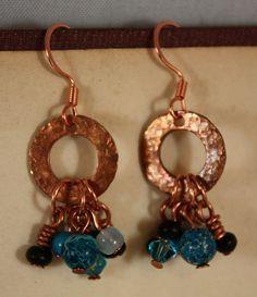 Copper Rain Earrings by CraftyHope, via Etsy.