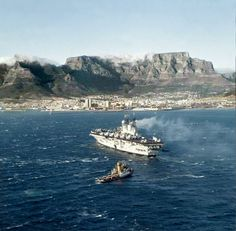 Approaching the harbour in a stiff south-easter. British Armed Forces, Naval History, Cape Town South Africa, Travel Brochure, Old Photos, Vintage Photos, Historical Pictures, Battleship, Places