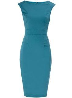 Aqua peplum structured dress