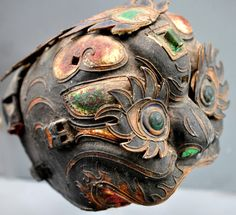 lacquor mask China 19th c   ( collection of Linda Pastorino)
