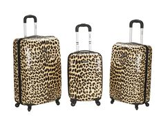 Rockland Luggage 3 Piece Snow Leopard Polycarbonate Upright Set ** Review more details here : Travel luggage