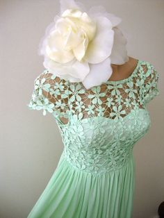 Size 6 Mint Green Crochet Daisy Lace Mini Cap Sleeve Cocktail Dress Vintage | eBay
