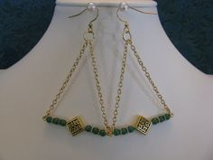 CELTIC KNOT Trapeze Dangles with Dark Green by ROOTSJewelryDesign, $15.00
