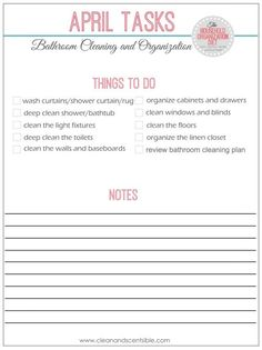 Printable checklist to get those bathrooms cleaned and organized!  // cleanandscentsible.com