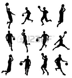 basketball players stencil svg dxf file instant download ...